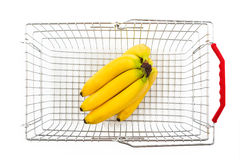 Shopping basket from the top with bananas Royalty Free Stock Image