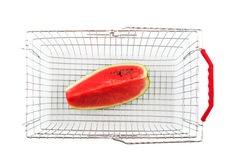 Shopping basket from the top with watermelon Stock Photos