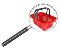 Shopping basket under magnifier Royalty Free Stock Photography