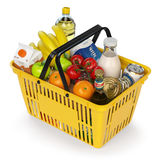 Shopping basket with variety of grocery products isolated on whi Royalty Free Stock Photography