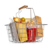 The shopping basket with various food. On white Stock Photo