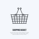 Shopping basket vector flat line icons. Retail store supplies, trade shop, supermarket equipment sign. Commercial Royalty Free Stock Images