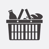 Shopping basket. Vector icon isolated on grey background Stock Photography