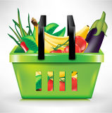 Shopping basket with vegetables Stock Photos