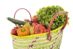 Shopping basket with vegetables and fruit Stock Photos