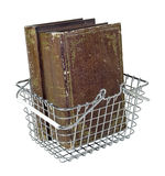 Shopping Basket with Vintage Books Stock Photo