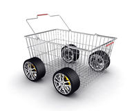 Shopping basket with wheels Royalty Free Stock Photography