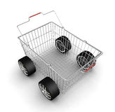 Shopping basket with wheels Stock Images