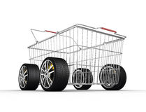 Shopping basket with wheels Royalty Free Stock Photo