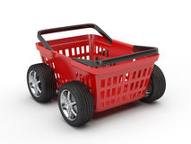 Shopping basket on wheels Stock Photos