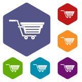 Shopping basket on wheels icons set hexagon Stock Photo