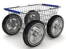 Shopping basket on wheels Royalty Free Stock Photo