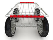 Shopping basket on wheels Stock Photography