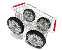 Shopping basket on wheels Royalty Free Stock Images