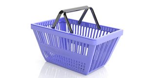 Shopping basket on white background. 3d illustration. Blue shopping basket on white background. 3d illustration Stock Images