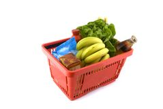 Shopping Basket With Daily Products Royalty Free Stock Images