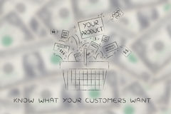 Shopping basket with Your Product among the competition Stock Image