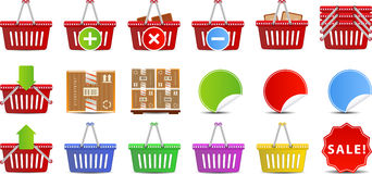 Shopping Baskets icon set Stock Photo