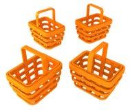 Shopping Baskets Orange. Orange shopping basket objects, horizontal, 3d illustration, isolated over white Stock Photography
