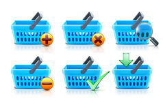Shopping baskets set Stock Photography