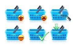 Shopping baskets set. Vector illustration set of empty supermarket shopping baskets Stock Photography