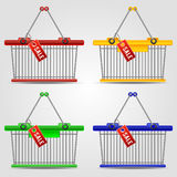 Shopping baskets set Royalty Free Stock Photo