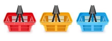 Shopping baskets supermarket equipment empty boxes for goods transport. Ation and delivery in shop store or super market on white background. Eps10 vector Stock Photography