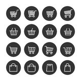 Shopping baskets thin line icons set. In black circles. Vector illustration Stock Image