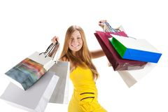 Shopping. Beautiful girl with bag Stock Image