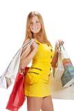 Shopping. Beautiful girl with bag Stock Photos