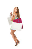 Shopping. Beautiful girl with bag Royalty Free Stock Photo