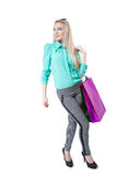 Shopping beautiful happy girl with colored bags Stock Photo