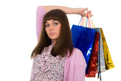 Shopping. Beautiful woman with colour packages Stock Image