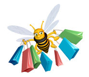 Shopping bee. Cute 3D bee with lots of bags Stock Images