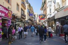 Shopping in Benidorm. Benidorm, Spain - April 13th 2019: The main shopping area at Avenida del Mediterraneo in the Levante area of Benidorm in Spain stock image