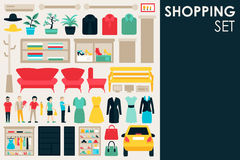 Shopping Big Collection in flat design background concept. Infographic Elements Set With Mall Staff Clothes And Stock Images