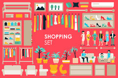 Shopping Big Collection in flat design background concept. Infographic Elements Set With Mall Staff Clothes  Royalty Free Stock Photos