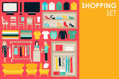 Shopping Big Collection in flat design background concept. Infographic Elements Set With Mall Staff Clothes And. Furniture People Interior Objects royalty free illustration