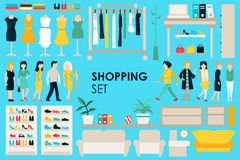 Shopping Big Collection in flat design background concept. Infographic Elements Set With Mall Staff Clothes And. Furniture People Interior Objects Stock Images