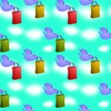 Shopping birds seamless background design Stock Image
