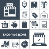 Shopping black white icons set Stock Photos