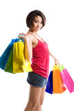 Shopping black woman Stock Images