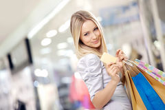 Shopping blonde Royalty Free Stock Photos