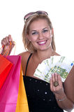 Shopping blonde girl Stock Images