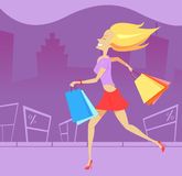 Shopping blonde woman Stock Photography