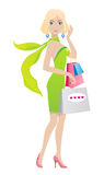 Shopping blondhair girl. Shopping blond girl. Vector illustration Royalty Free Stock Photos