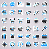 Shopping blue stickers. Stock Photo