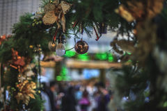 shopping blurred image in christmas city royalty free stock image