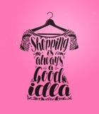 Shopping boutiquebaner Klänning på hängare Handskriven bokstäver, kalligrafivektorillustration stock illustrationer