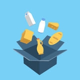 Shopping Box with Food. Flat vector concept Royalty Free Stock Images
